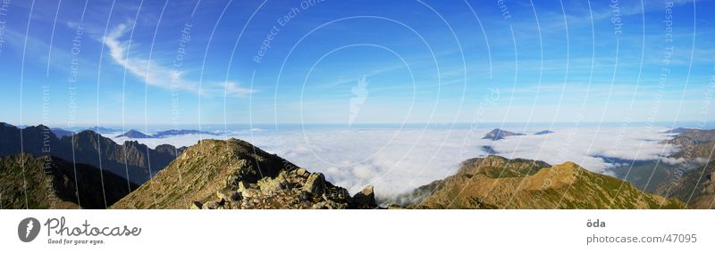 Sun Ocean Clouds Mountain Fog Large Horizon Vantage point Panorama (Format) Corsica