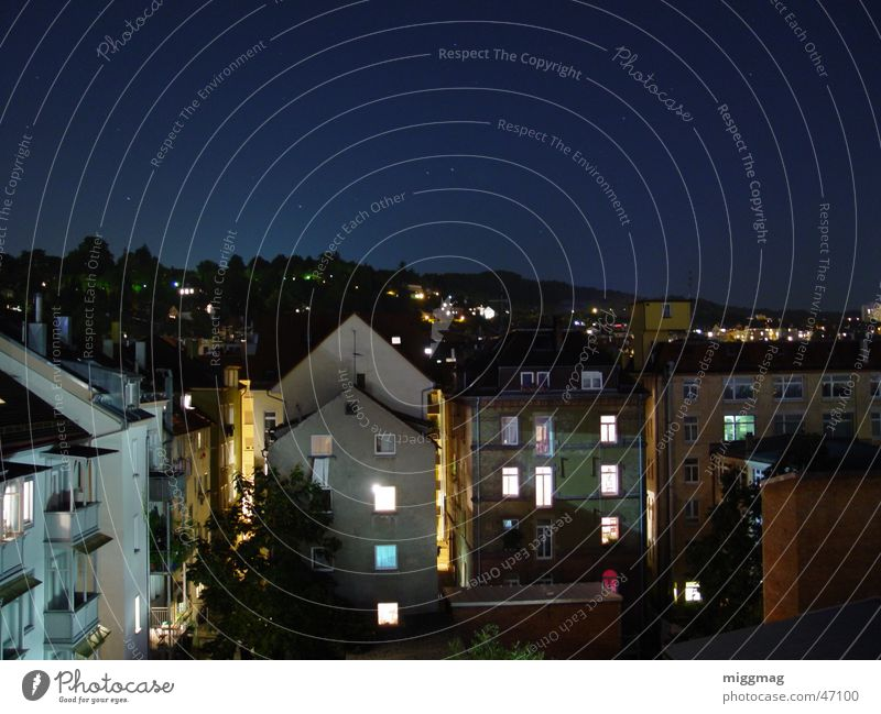 Stuttgart West Town Night Night shot Long exposure House (Residential Structure) Facade Balcony Dark Roof Sky Stars