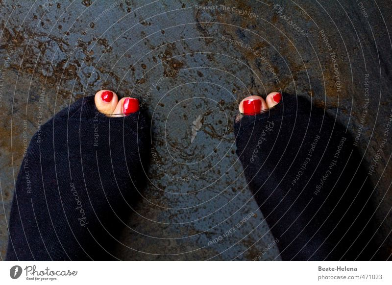 Human being Red Black Movement Exceptional Feet Pink Power Success Stand Force Might Strong Passion Hollow Stockings