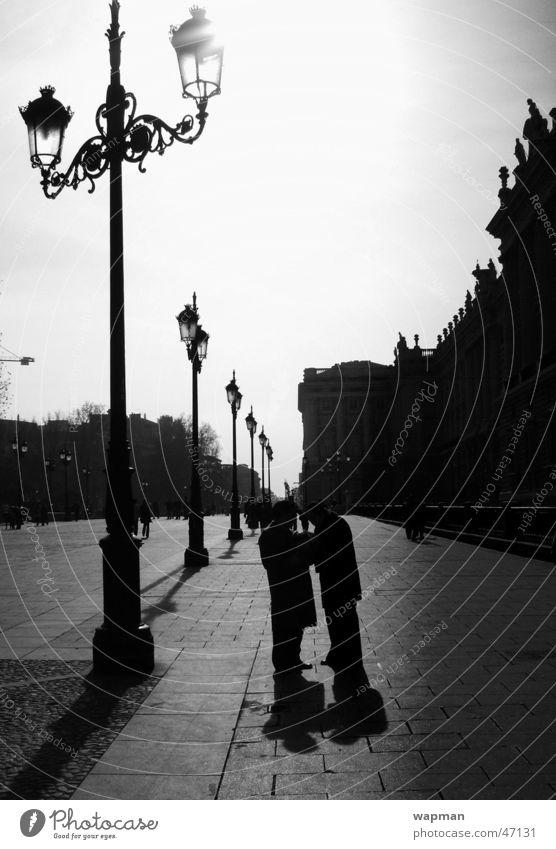 Palacio Real - Madrid Street lighting Dark Town Spain King's palace To talk Exterior shot Shadow Human being Black & white photo Contrast