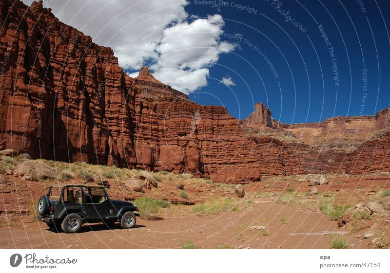 Canyonlands National Park Red Adventure Vacation & Travel Offroad vehicle Moab Territory USA Stone Sky Landscape Far-off places Freedom jeep wrangler