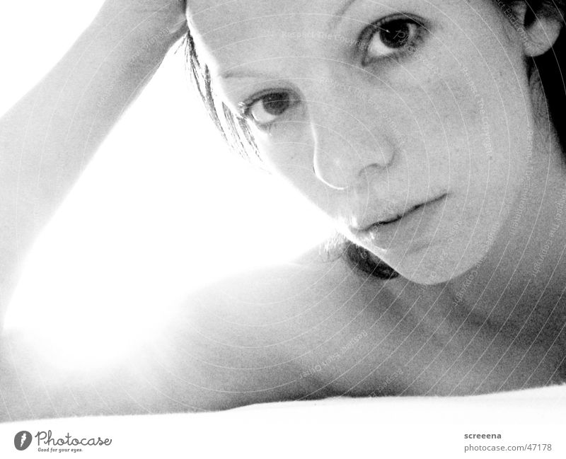 Sun Is Shining Woman Morning Dazzle Bed Portrait photograph Black White Fatigue Loneliness Black & white photo grain