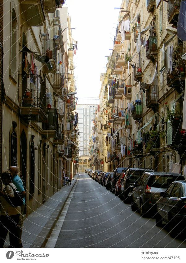 Human being Vacation & Travel Street Window Car Door Rope Vantage point Balcony Spain Laundry Barcelona South Alley Vista Clothesline