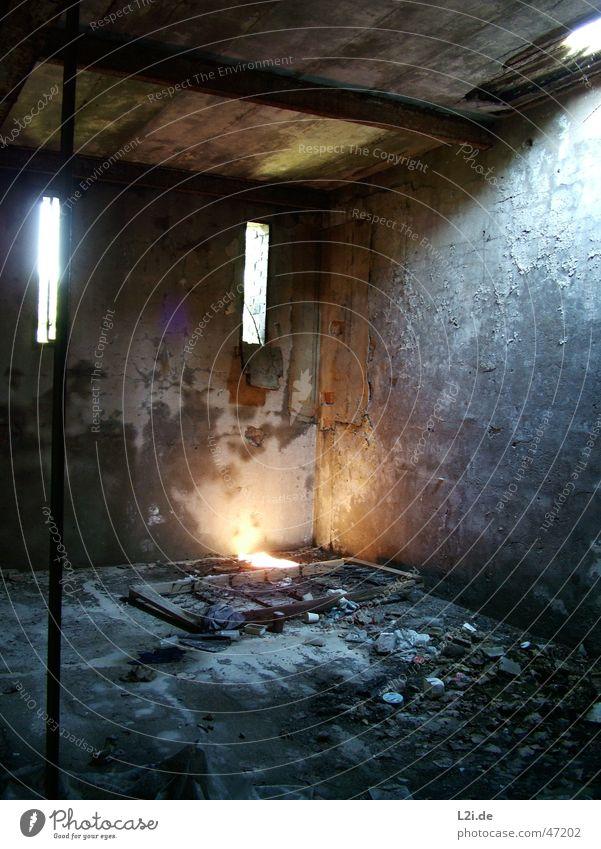 Old Sun Black Loneliness Wall (building) Window Gray Stone Room Bed Trash Creepy Warehouse Destruction Rod Scrap metal