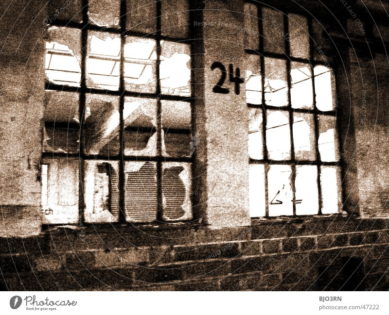 the lost #24 Factory Building Window Shard Broken Digits and numbers Dark Creepy Loneliness Wall (barrier) Exterior shot Train station vacant Window pane