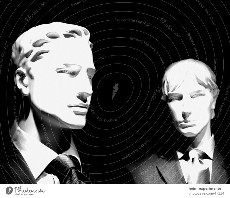 The undynamic duo Mannequin Human being Suit Black Tie Blonde Shop window Clothing Model Working man Service Employees & Colleagues Superior Big shot Lawyer