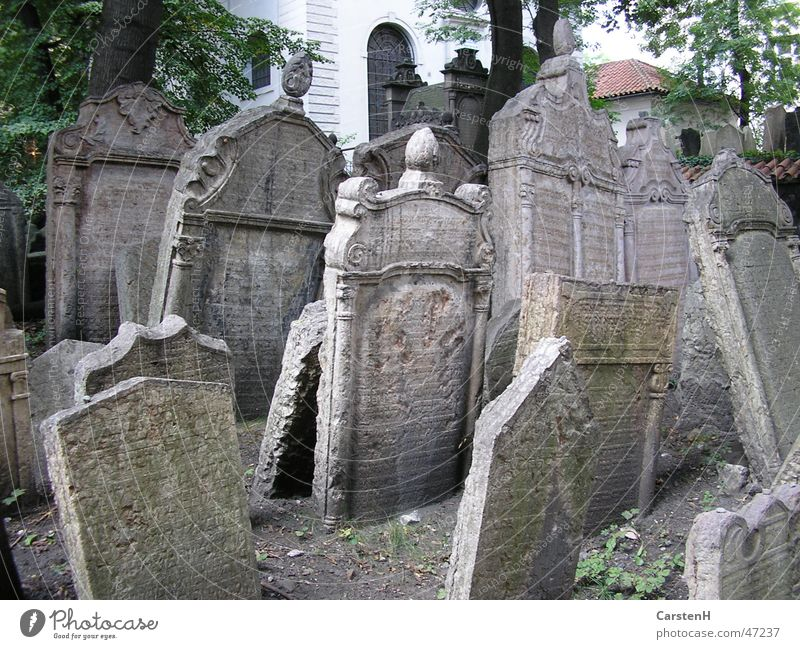 Old Stone Tilt Many Memory Cemetery Grave Tombstone Judaism Prague Religion and faith Jewish cemetery