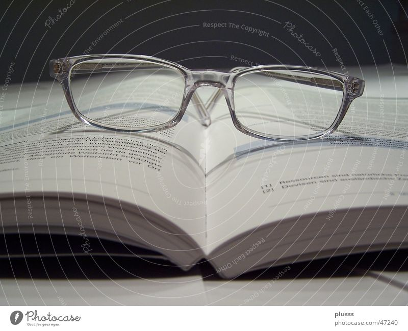 Being able to read Book Eyeglasses Characters Accuracy Spectacle frame Opened Tenancy law Laws and Regulations Deserted Reading glasses Teacher know-it-all