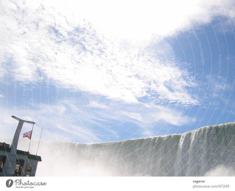 Water Sky Clouds Watercraft Waterfall White crest Niagara Falls (USA)