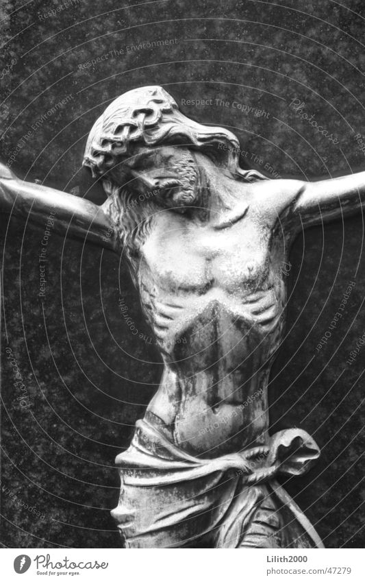 Cemetery 1 Jesus Christ Cologne Gray Thorn Grave Tombstone Religion and faith Ribs Black & white photo Marble Sadness