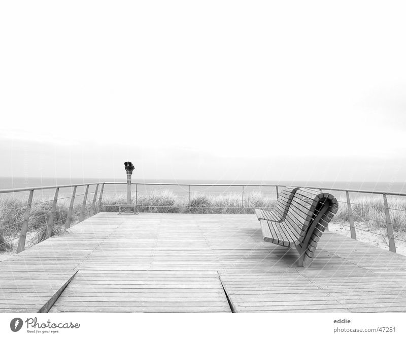 Abandoned North Sea Beach Platform Ocean Bench Vantage point Loneliness
