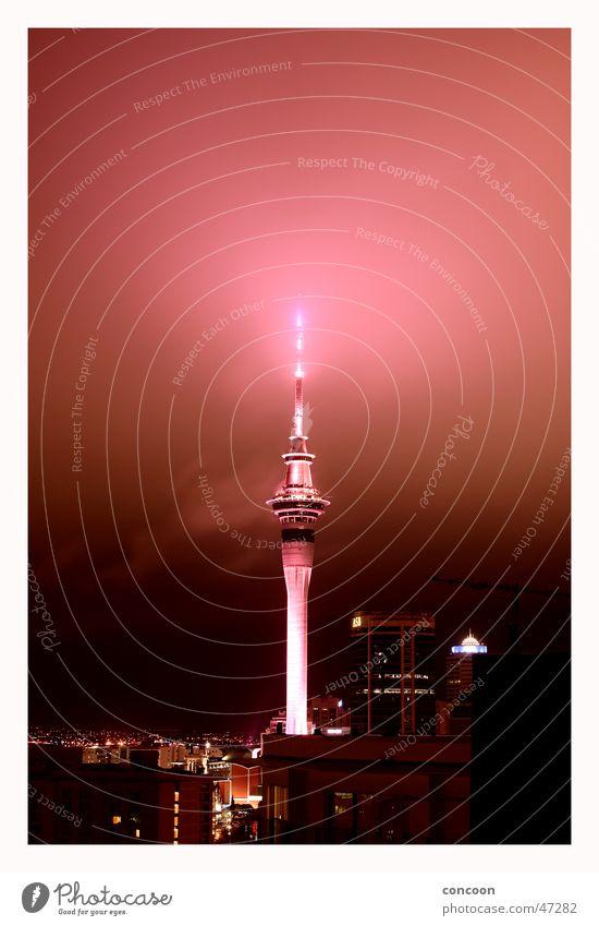 Auckland Skytower New Zealand Sky Tower Southern hemisphere Glow Fog Level highest building Lamp