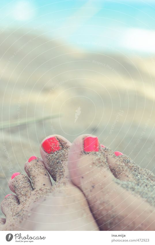 Sand on the feet I Pedicure Relaxation Calm Meditation Swimming & Bathing Human being Feminine Young woman Youth (Young adults) Woman Adults Feet 18 - 30 years