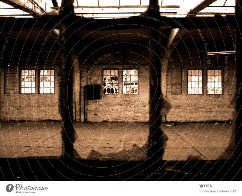 the lost #02 Factory Building Window Shard Broken Dark Creepy Loneliness Wall (barrier) Exterior shot Train station güthernahnhof vacant Window pane
