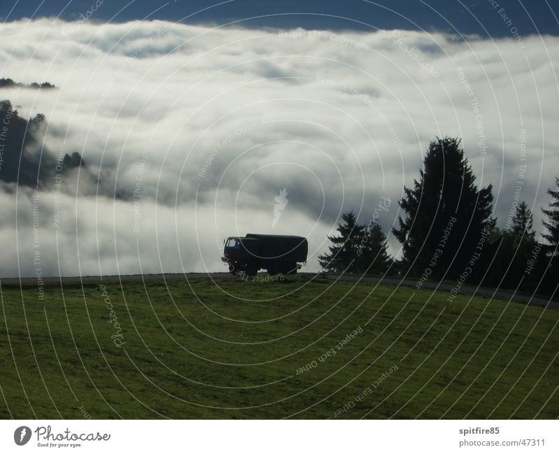 sea of clouds Clouds Truck Armed Forces Army Fog Panorama (View) Valley lorry steyr 12m18 Large