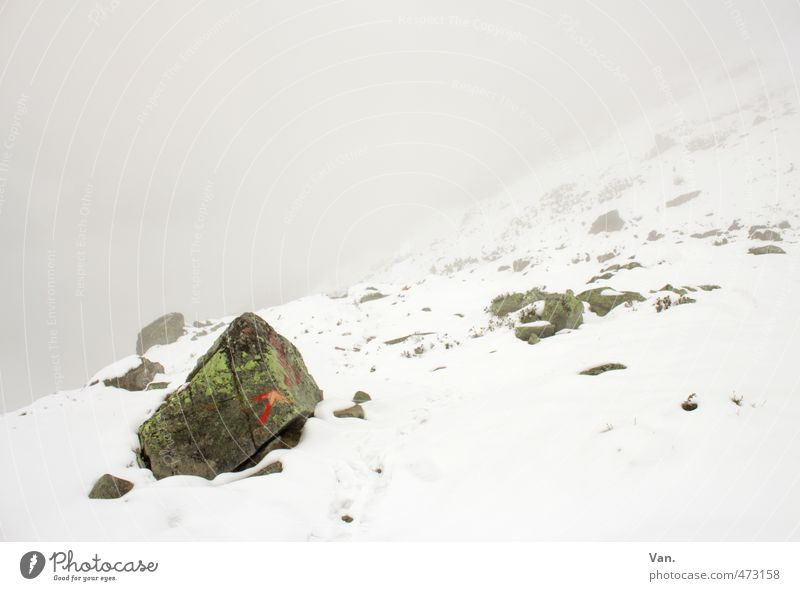 Nature White Landscape Clouds Cold Mountain Snow Stone Rock Fog Signs and labeling Hiking Alps Arrow Arrow Bad weather