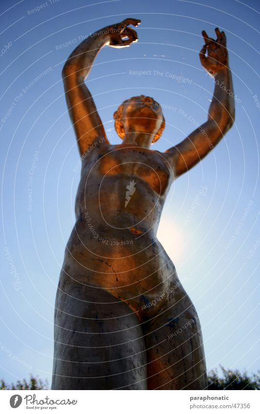 Woman Human being Old Sky Blue Summer Calm Playing Movement Dream Dance Gold Stand Clarity Statue Frozen