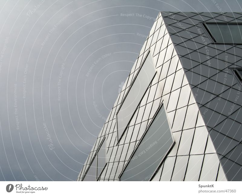 Sky House (Residential Structure) Clouds Window Gray Glass Facade Gloomy Square Cologne Pane Front side Glazed facade