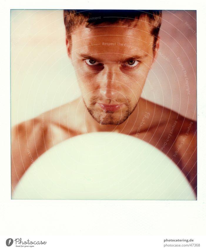 SX 70 Polaroid Man Evil Facial hair Skin Eyes Cool (slang) Looking