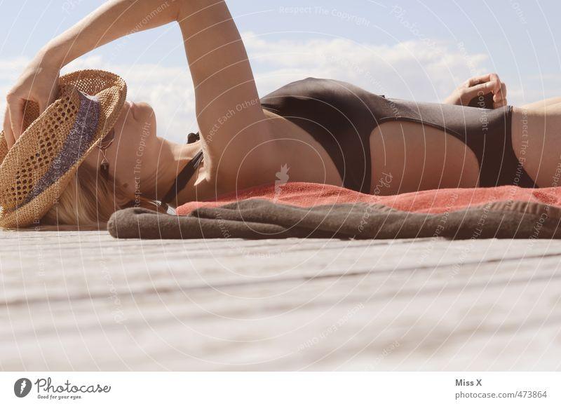 last holiday greetings Beautiful Wellness Relaxation Calm Meditation Vacation & Travel Summer Summer vacation Sun Sunbathing Human being Feminine Young woman