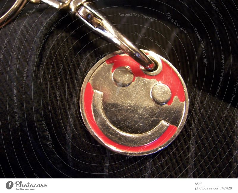 head up Grinning Smiley Key Keyring Decline Microchip Moody Funny Near smile smilie Joy Laughter Metal shopping chip utility Detail