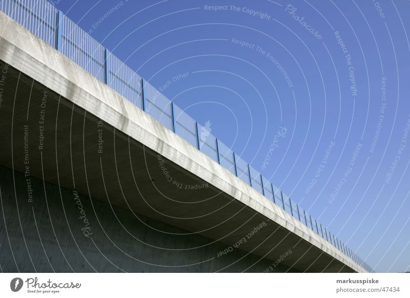 motorway bridge Vehicle Concrete Column bridge motorway Highway Handrail Border Sky Blue Sun Architecture
