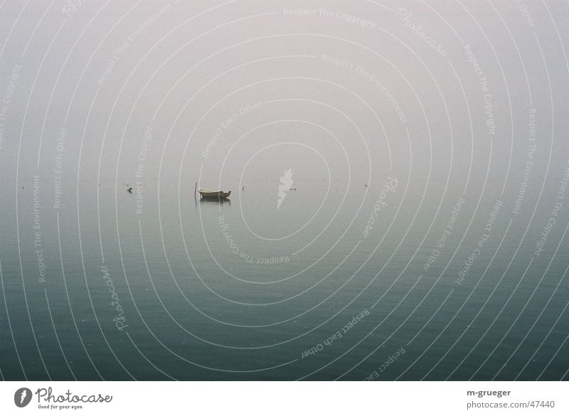 Calm Loneliness Fog Rowboat Dinghy Hiddensee