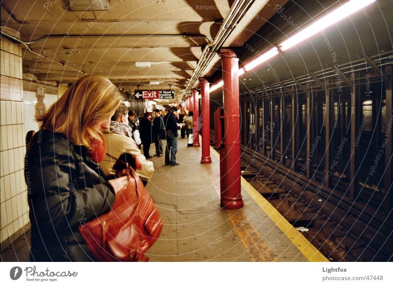 Human being City Yellow Dark Work and employment Wait Railroad Stand Railroad tracks Tile Underground New York City