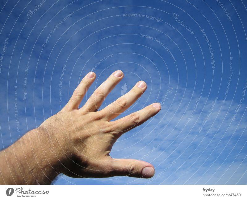 Reaching for the sky Hand Sky Catch Blue