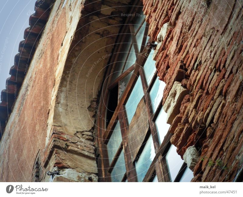 Old Window Wall (barrier) Glass Factory Brick Weathered