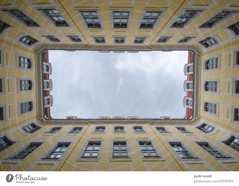 passage Sightseeing World heritage Sky Leipzig Old town built Interior courtyard Facade Window Tourist Attraction Sharp-edged Historic Yellow Authentic Esthetic