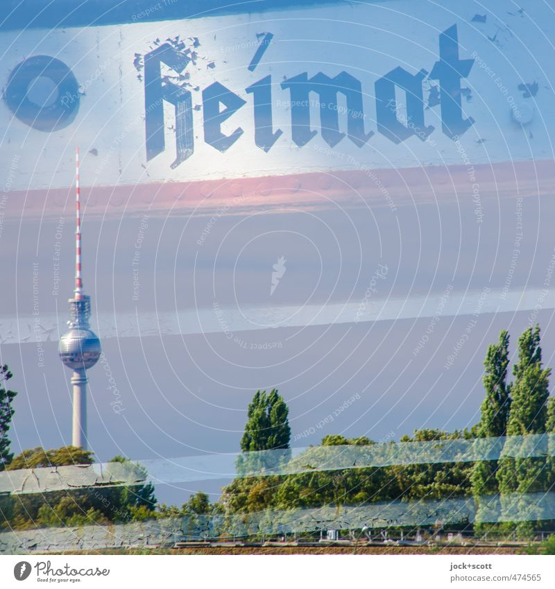 home port Summer Landmark Berlin TV Tower Navigation Steel Historic Home country Ship's side Double exposure Ravages of time Illusion Typography Reaction Detail