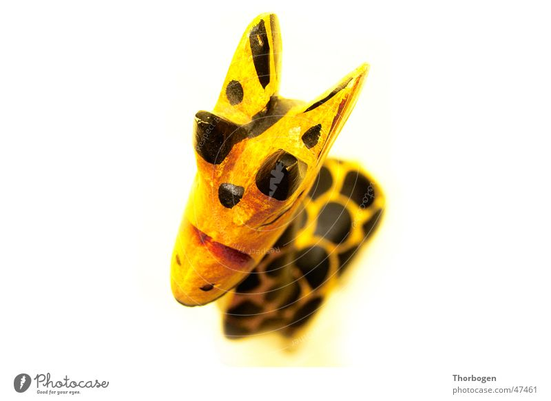 Safari 1 Wooden figure Animal Yellow Black Africa Carving Giraffe