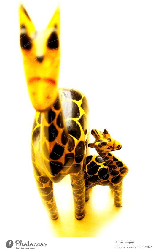Safari 2 Wooden figure Animal Yellow Black Africa Carving Giraffe