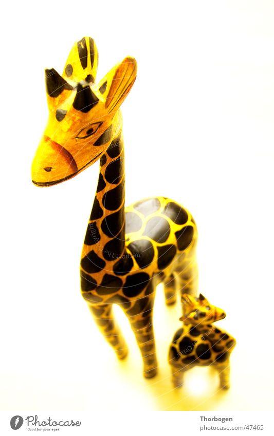 Safari 4 Wooden figure Animal Yellow Black Africa Carving Giraffe