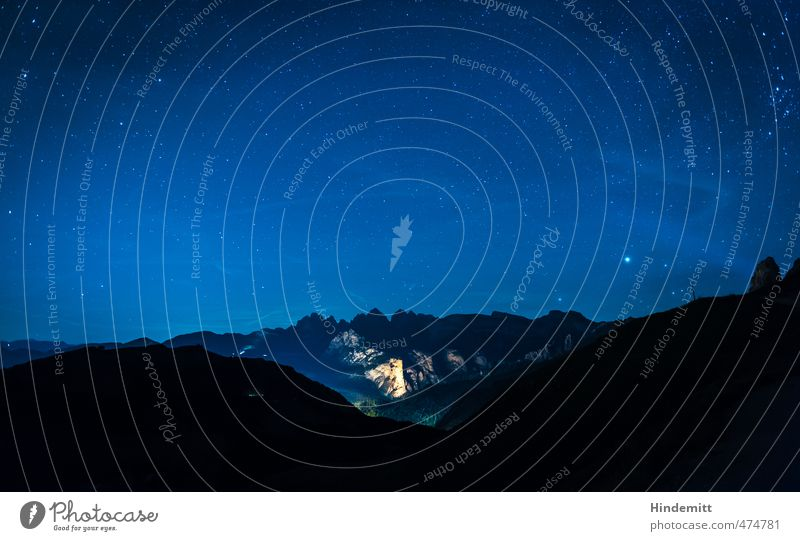 Under the star tent (3): Wolkenstein Vacation & Travel Elements Earth Air Sky Cloudless sky Night sky Stars Summer Beautiful weather Hill Rock Alps Mountain