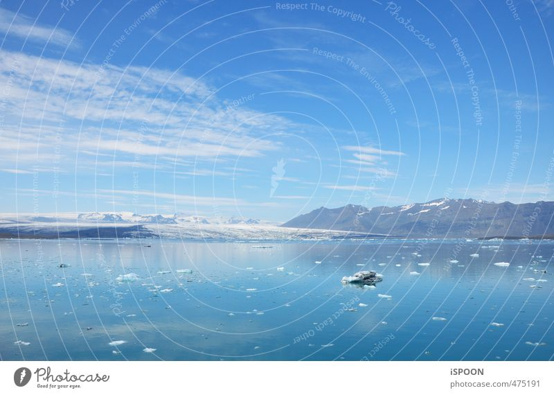 Iceland Environment Nature Landscape Water Summer Beautiful weather Frost Mountain Glacier Lakeside Jökulsárlón Breathe Cool (slang) Simple Cold Blue