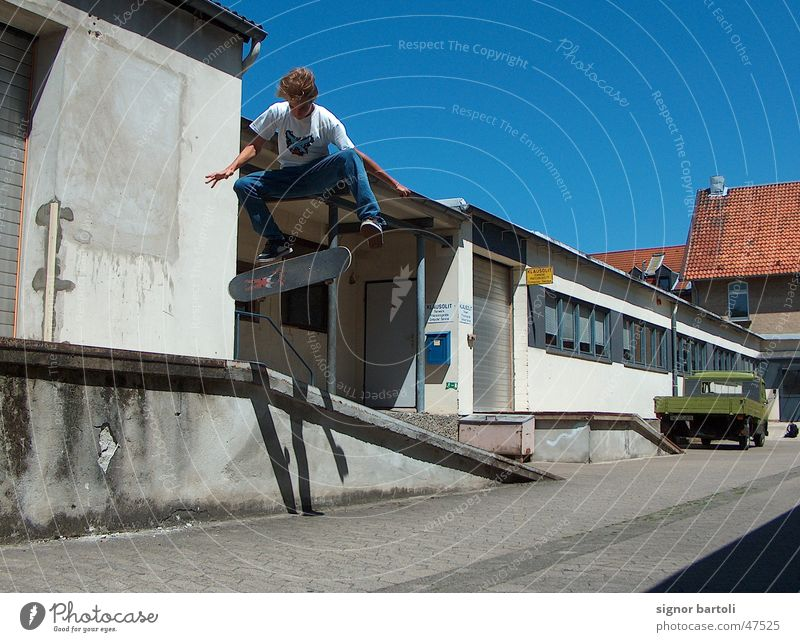 Sun Jump Air Industrial Photography Skateboarding Blue sky Trick Kickflip