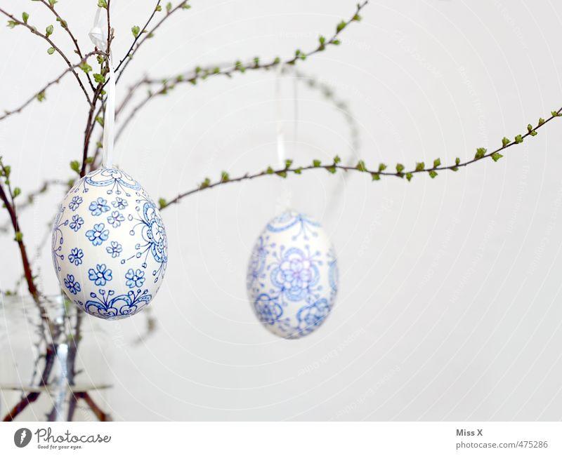 Blue White Feasts & Celebrations Decoration Branch Easter Delicate Twig Hang Bud Fragile Painted Leaf bud Ornament Easter egg