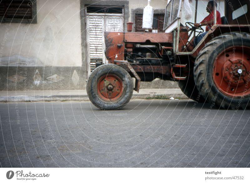 City Street Cuba Tractor Havana