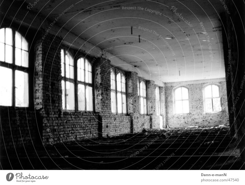 Through space and time Derelict Brick Window Factory Gloomy Shabby Contrast Black & white photo Old