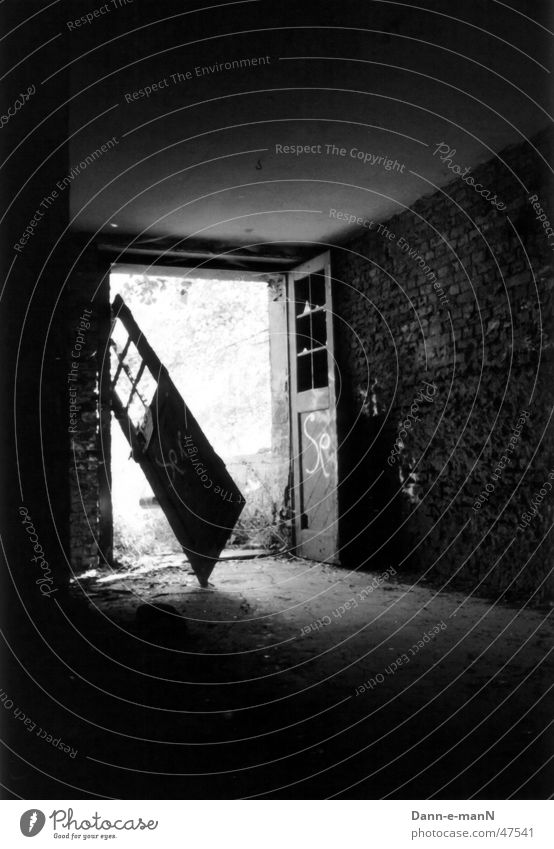 light at the end of the tunnel Broken Brick Ravages of time Derelict Light Door Old Shabby Black & white photo Contrast Shadow