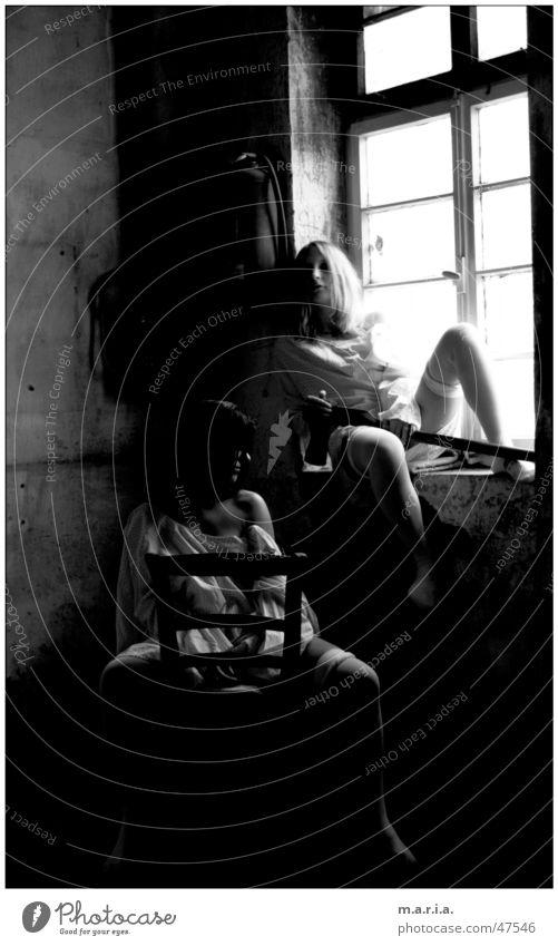 Woman Human being Dark Window Legs Skin Chair Shoulder Warehouse Location Axe Tool