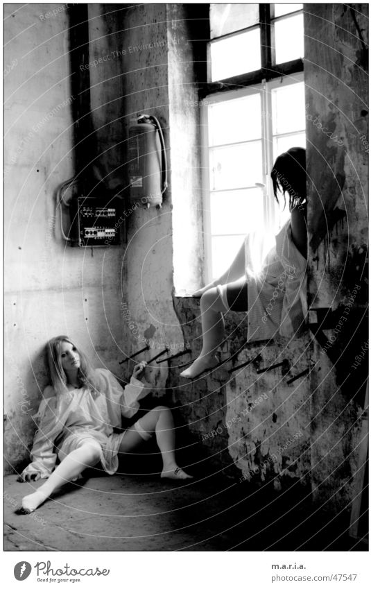 Woman Human being Window Legs Shirt Warehouse Location Window board Iron rod
