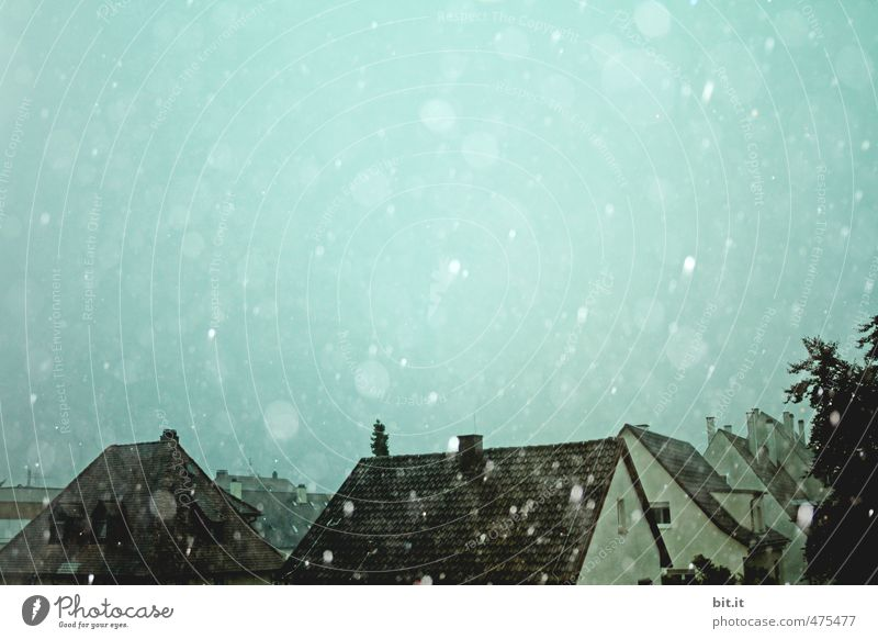 Sky Blue House (Residential Structure) Dark Cold Sadness Architecture Snow Building Moody Rain Snowfall Ice Weather Drops of water Climate