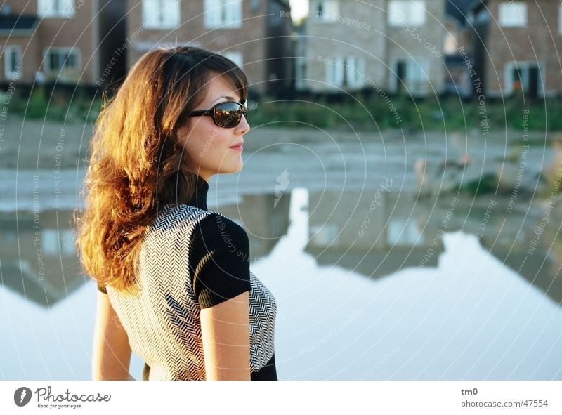 late summerly Reflection Woman Beautiful Posture Sunglasses Moody Lake House (Residential Structure) Sunset Evening Elegant diana