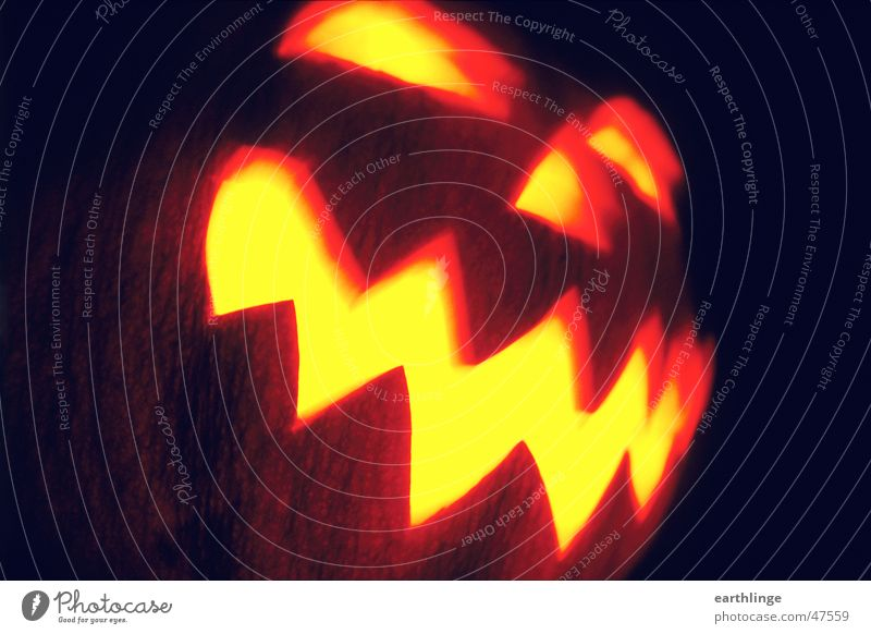 Eyes Dark Mouth Orange Nose Candle Analog Creepy Hallowe'en Frightening Hollow Pumpkin Opening Zigzag Landscape format Low-cut