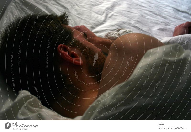 Man Hand White Head Sleep Bed Ear Facial hair Bedclothes