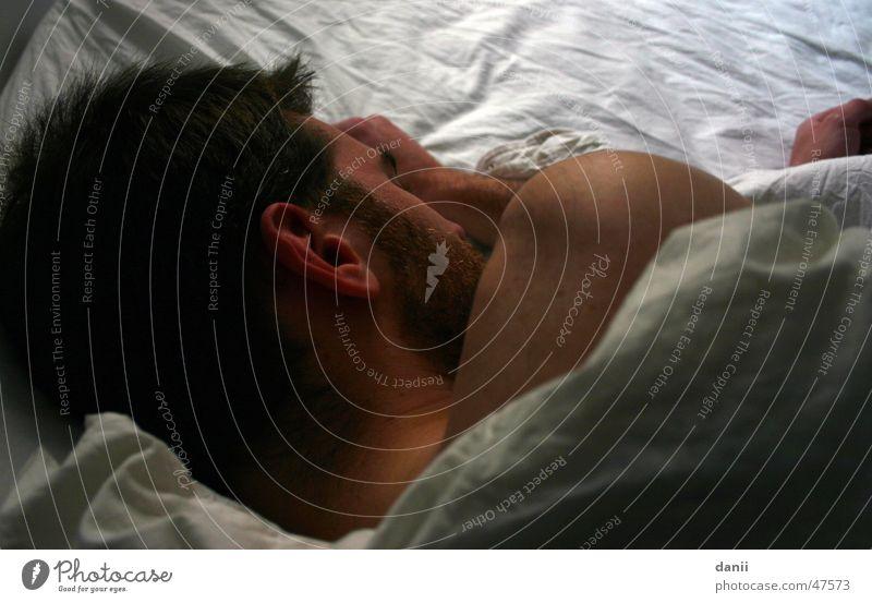 sleeper Man Facial hair Bed Bedclothes White Sleep Hand Ear Detail Head