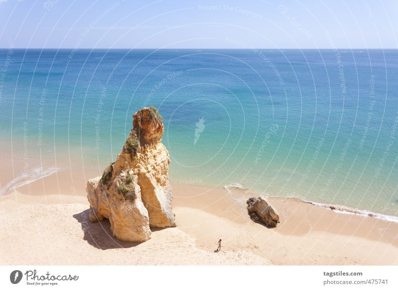 Nature Vacation & Travel Ocean Relaxation Calm Landscape Girl Beach Travel photography Coast Sand Rock Leisure and hobbies Idyll Tourism Card